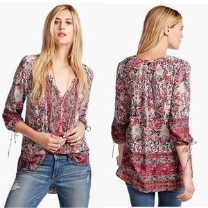 Lucky Brand Floral Woodblock Peasant Top Red White
